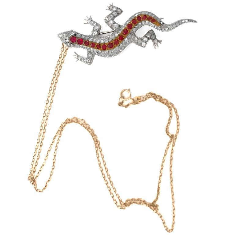 Edwardian Diamond Spinel yellow gold Salamander Pendant Pin 3