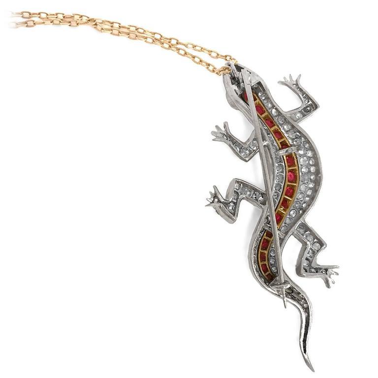 Edwardian Diamond Spinel yellow gold Salamander Pendant Pin 4