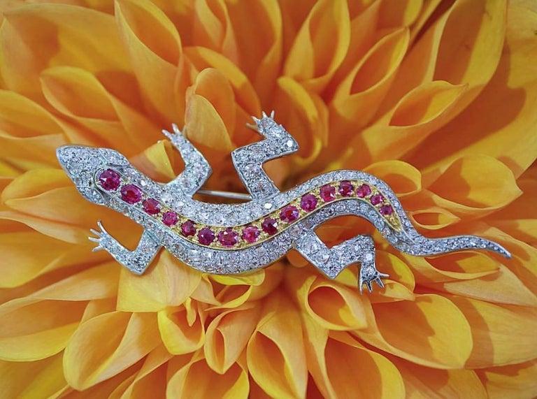 Edwardian Diamond Spinel yellow gold Salamander Pendant Pin 5
