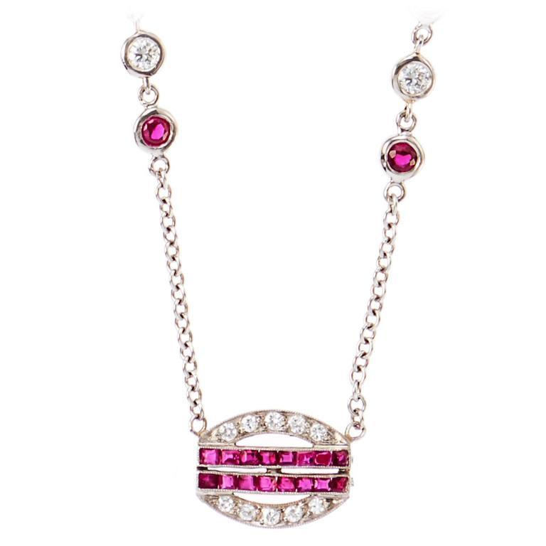Art Deco Ruby Diamond Platinum Pendant 1
