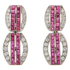 Art Deco Ruby Diamond Platinum Dangling Earrings