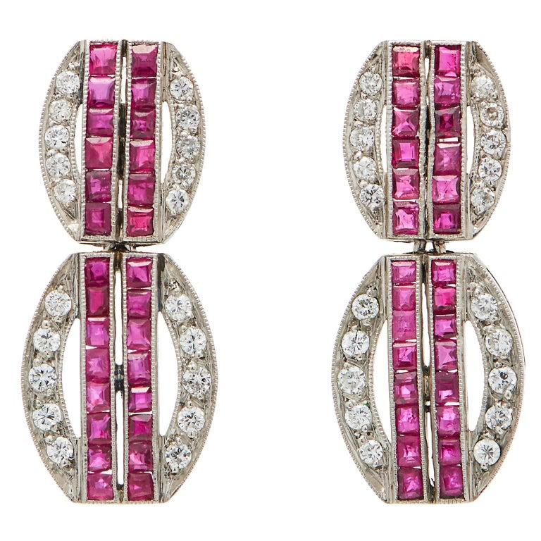 Art Deco Ruby Diamond Platinum Dangling Earrings For Sale
