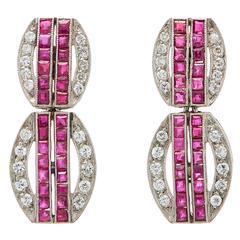 Exclusive Mindi Mond Ruby Diamond Platinum Earrings