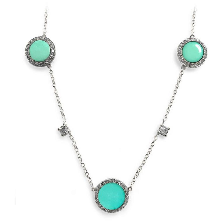 Women's Art Deco Turquoise Diamond Platinum Necklace For Sale