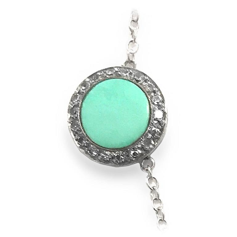 Art Deco Turquoise Diamond Platinum Necklace For Sale 1