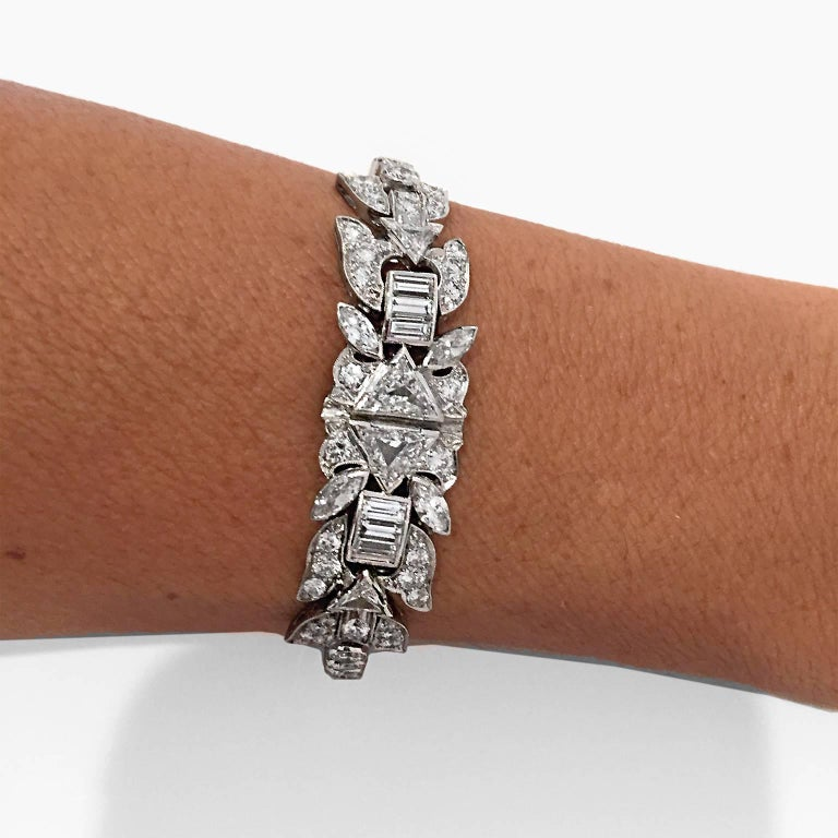 Women's Platinum Art Deco 8+ Carat Diamond Bracelet For Sale