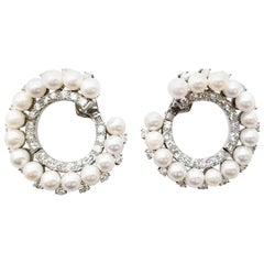 Diamond and Cultured Pearl Platinum French Back Hoops