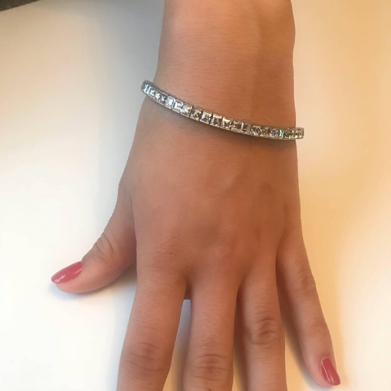 Women's Art Deco 14 Carat Emerald Cut Diamond Platinum Line Bracelet For Sale