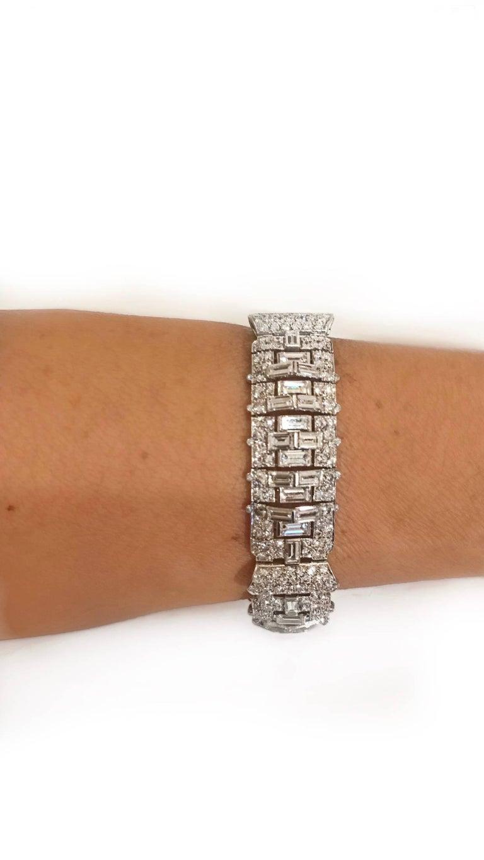 Art Deco Baguette Round Diamond Platinum Bracelet For Sale 2