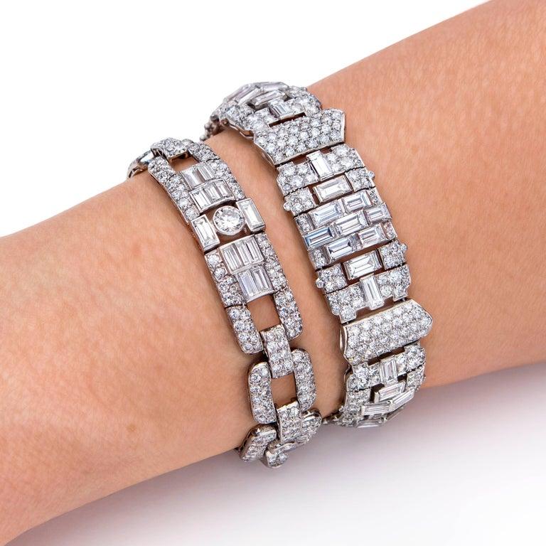 Women's Art Deco Baguette Round Diamond Platinum Bracelet For Sale