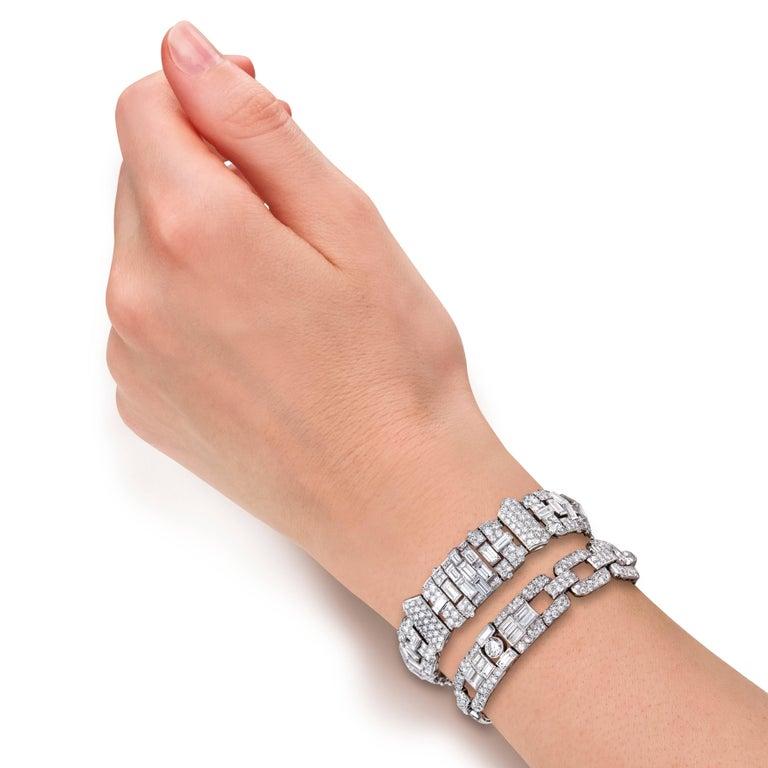Art Deco Baguette Round Diamond Platinum Bracelet For Sale 1