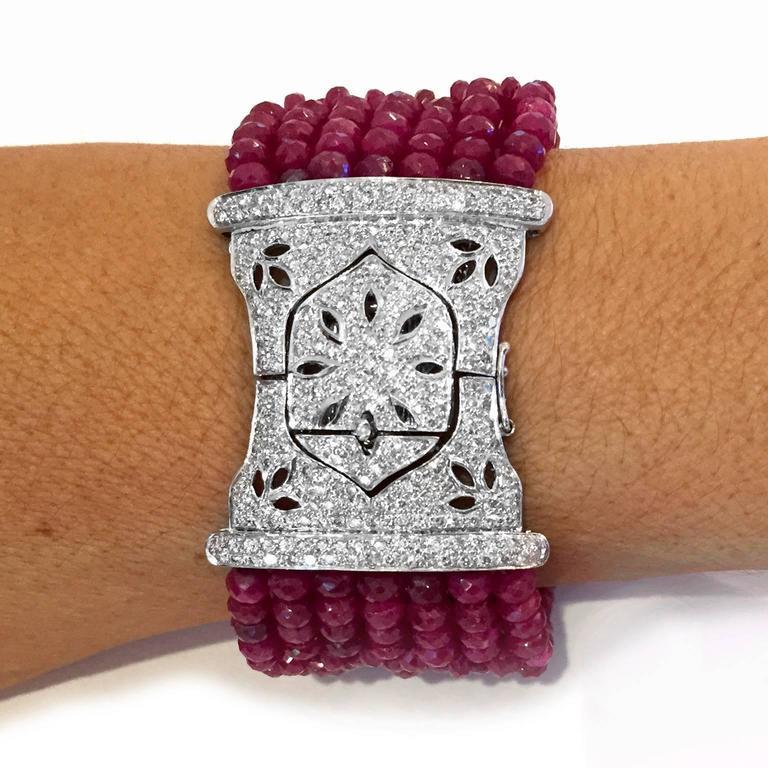 Devine Diamond and Ruby Bead Bracelet  7