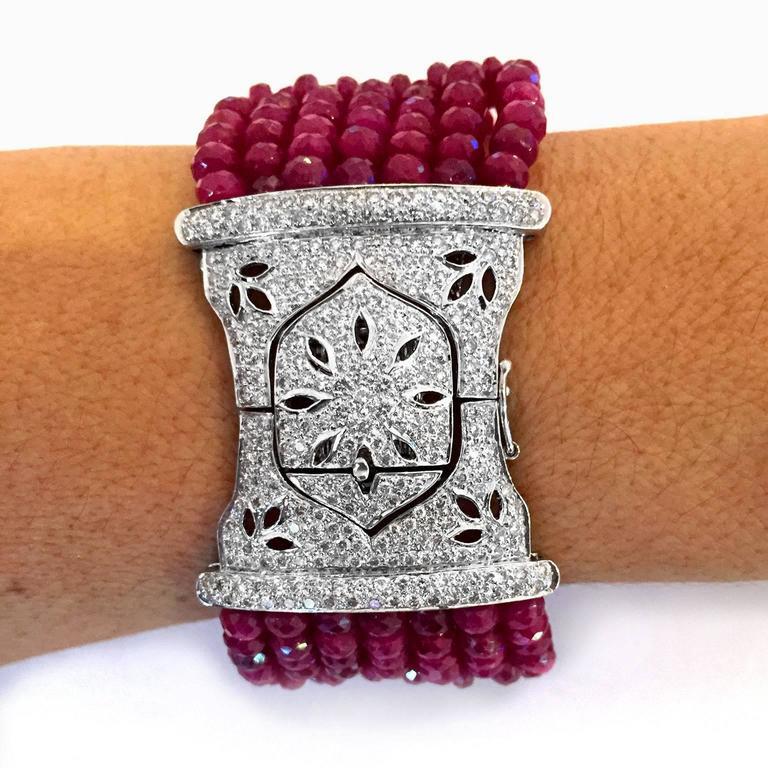Devine Diamond and Ruby Bead Bracelet  8