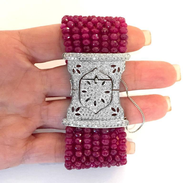 Devine Diamond and Ruby Bead Bracelet  9