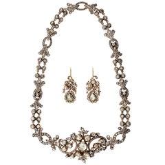 Georgian Rose Cut Diamond Necklace Converts to Bracelet