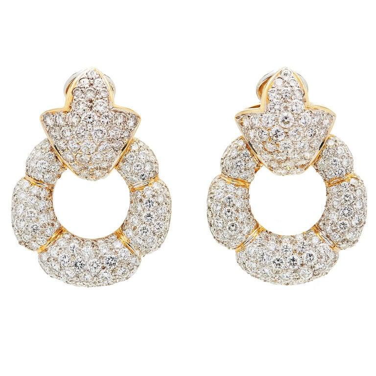 12 Carat Diamond Gold Door Knocker Earrings