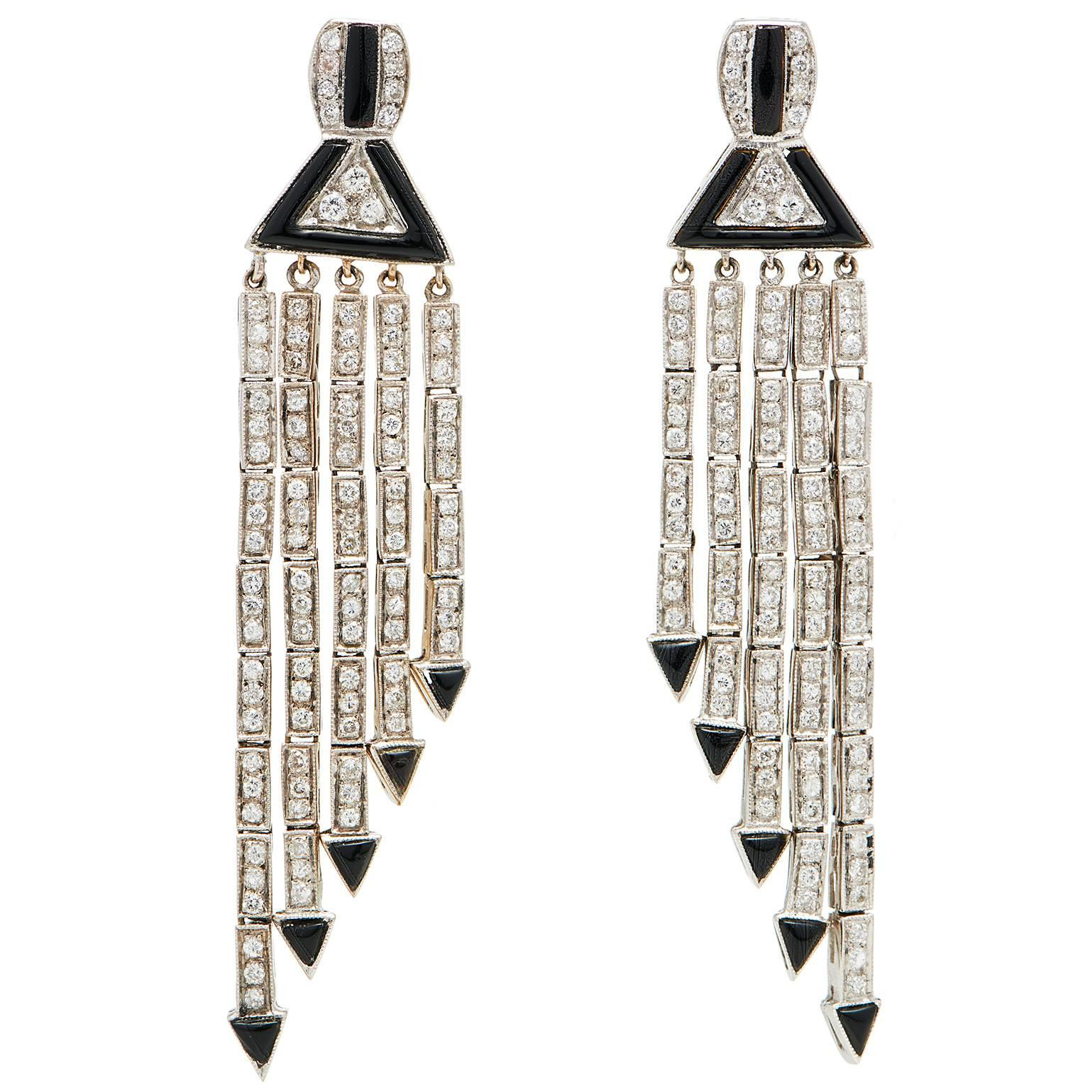 Art Deco Style Faux Diamond yx Jade Earrings For Sale at 1stdibs