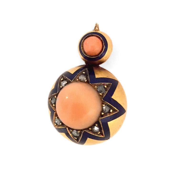 Victorian Coral Enamel Diamond Gold Earrings 2