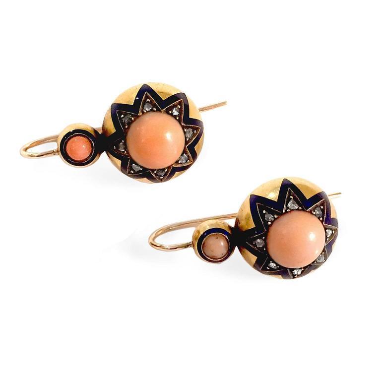 Victorian Coral Enamel Diamond Gold Earrings 3