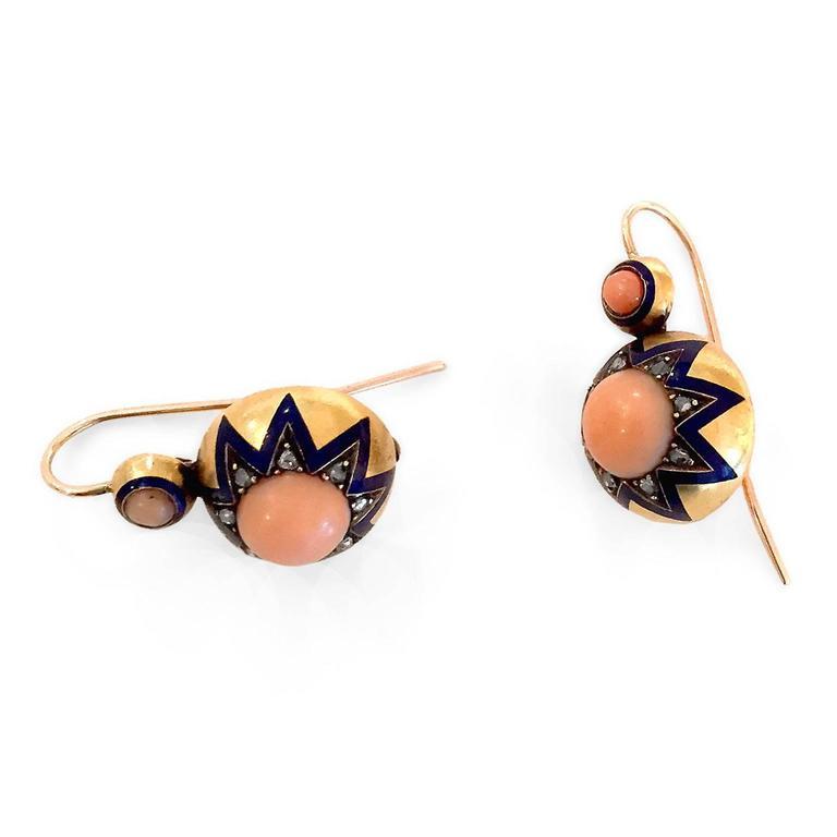 Victorian Coral Enamel Diamond Gold Earrings 4