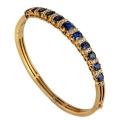 Victorian Natural Burmese Sapphire and Diamond 18 Carat Gold Bangle, circa 1880