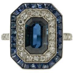 Art Deco Natural Sapphire and Diamond Platinum circa 1920 Ring