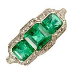Edwardian Platinum and Diamond with Fine Quality Columbian Emeralds, circa 1910
