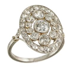Edwardian Platinum Diamond Milligran Cluster circa 1910 Ring