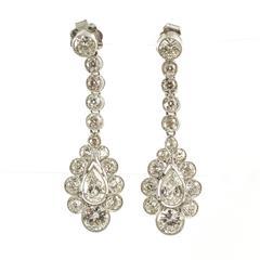 Edwardian Diamond Platinum Set Drop Earrings