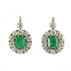 Emerald Diamond Drop Cluster Victorian Earrings, circa 1895