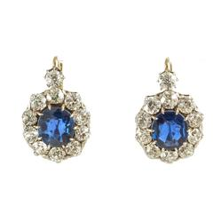 Edwardian circa 1910 Natural Sapphire and Diamond Drop Earrings