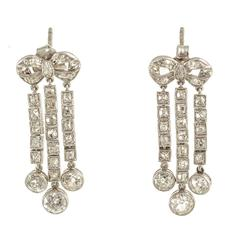 Edwardian circa 1910 Chandelier Drop Earrings Platinum Set