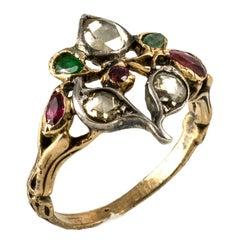 Rose Diamonds Rubies Emeralds Gold Silver Gardinetti Georgian Ring