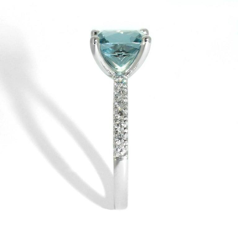 Lizunova Aquamarine and Diamond White Gold Ring 2