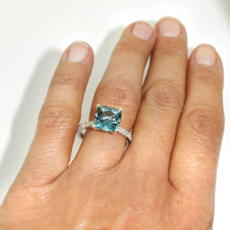 Lizunova Aquamarine and Diamond White Gold Ring 5
