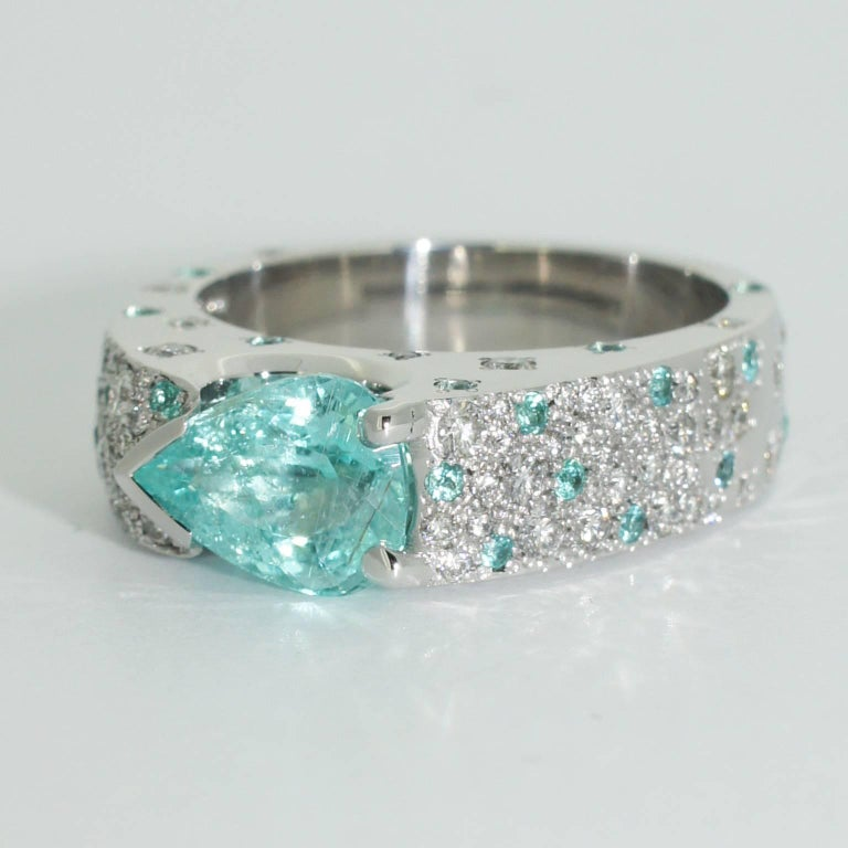 Lizunova Paraiba Tourmaline Diamond Cluster Ring For Sale