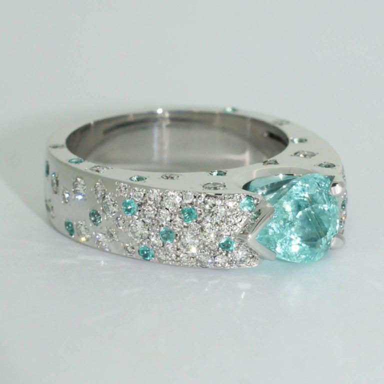 Lizunova Paraiba Tourmaline Diamond Cluster Ring For Sale