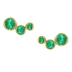 Lizunova Emerald and Gold Stud Earrings