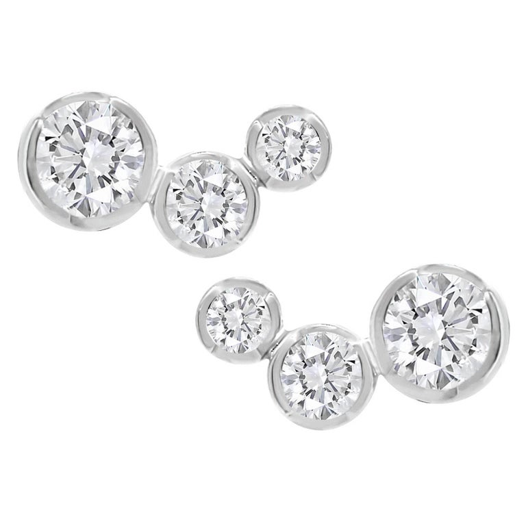 Lizunova Round White Diamond Stud Earrings in 18k White Gold
