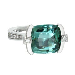 Lizunova Teal Tourmaline and Diamond Ring