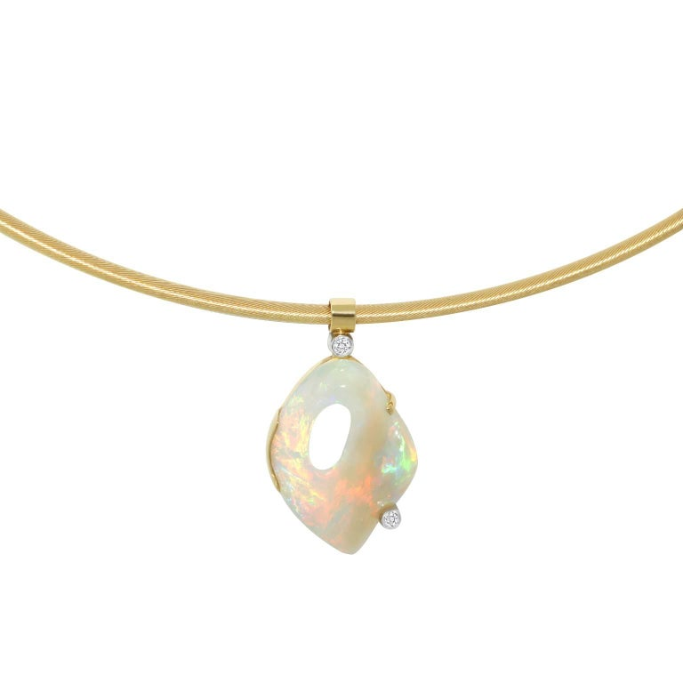 Australian Crystal Opal and Diamond One-of-a-Kind Necklace 7