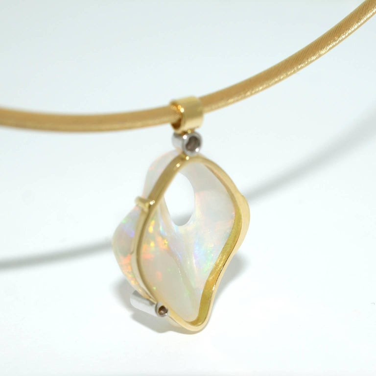 Australian Crystal Opal and Diamond One-of-a-Kind Necklace 4