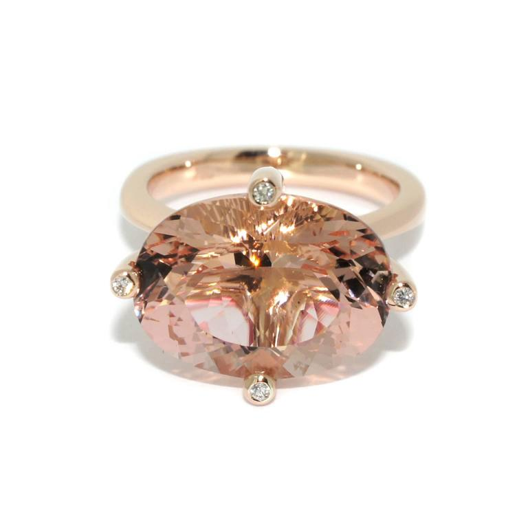 Lizunova Morganite And Diamond Rose Gold Lumiere Cocktail Ring For Sale At 1stdibs