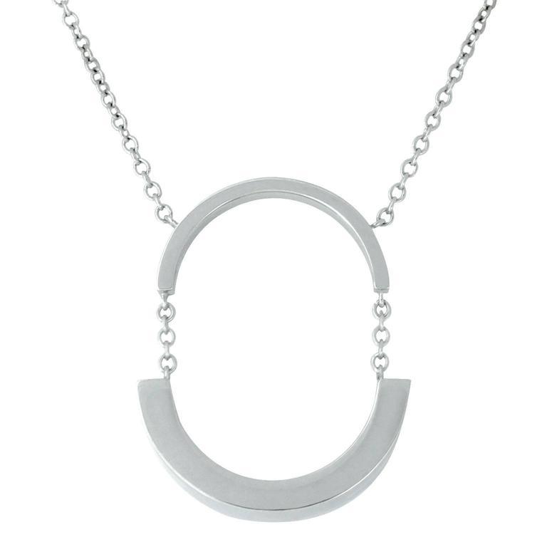 Lizunova Geometric Pendant Necklace in White Gold