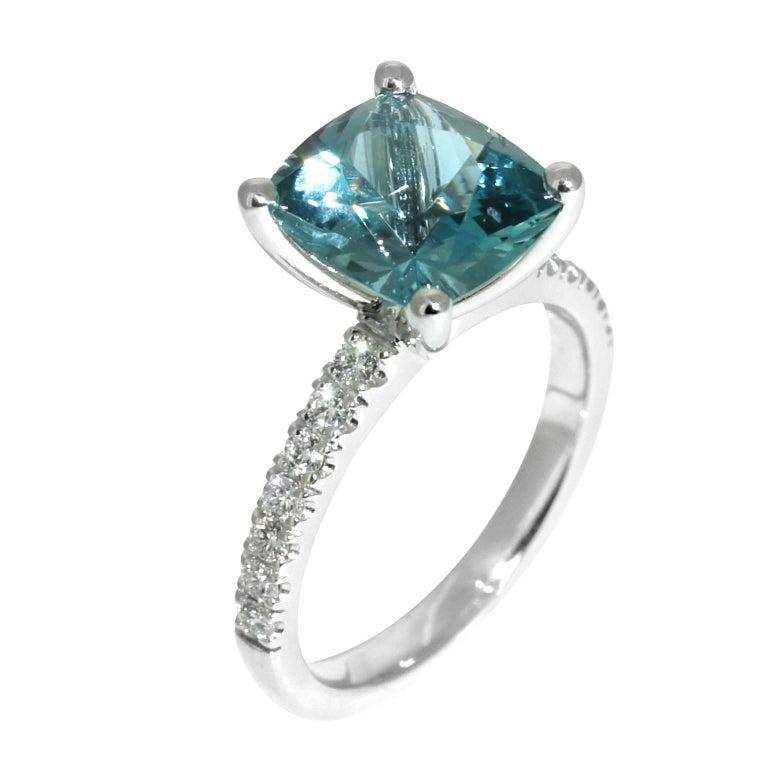 Contemporary Lizunova Aquamarine and Diamond White Gold Bridal Engagement Ring For Sale