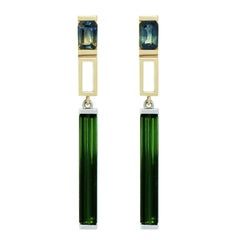 Lizunova Parti Sapphire & Green Tourmaline Drop Earrings in 18k gold