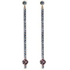 Lizunova Blue Sapphire and Malaya Garnet Rose Gold Drop Earrings