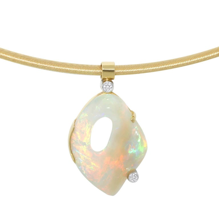 Australian Crystal Opal and Diamond One-of-a-Kind Necklace 2