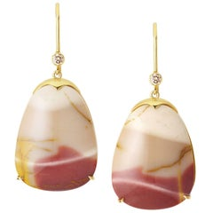 Lizunova One-of-a-Kind Australian Jasper and Diamond Drop Earrings