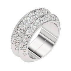 Lizunova Diamond Pave White Gold Engagement Bridal Band Ring